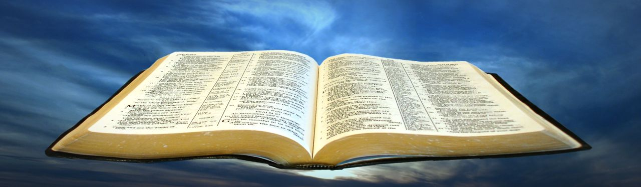 cool holy bible on blue sky background header